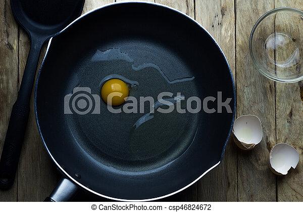 Eier in einer Pfanne. - csp46824672