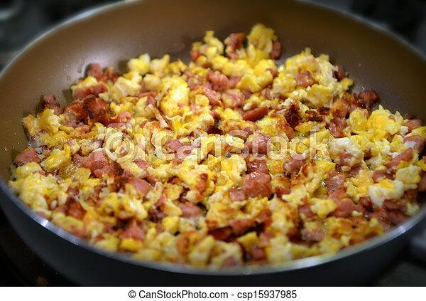 eier, kochen, kletterte, pfanne - csp15937985