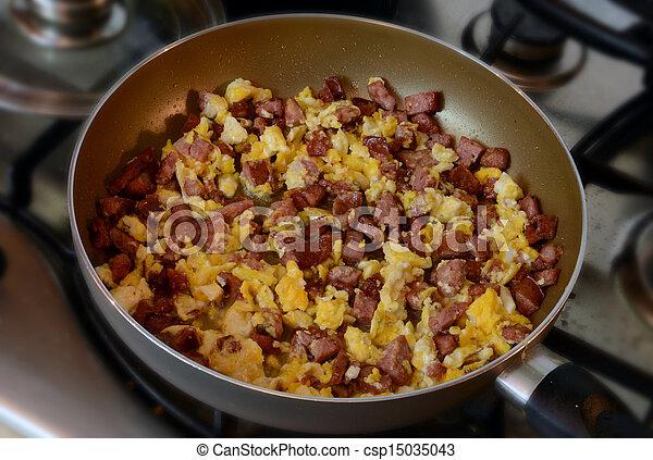 eier, kochen, kletterte, pfanne - csp15035043