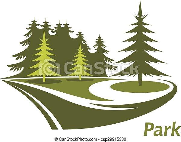 Ein grüner Park mit Pinien. - csp29915330