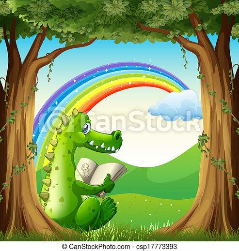Ein Krokodil liest unter dem Baum unter dem Regenbogen. - csp17773393