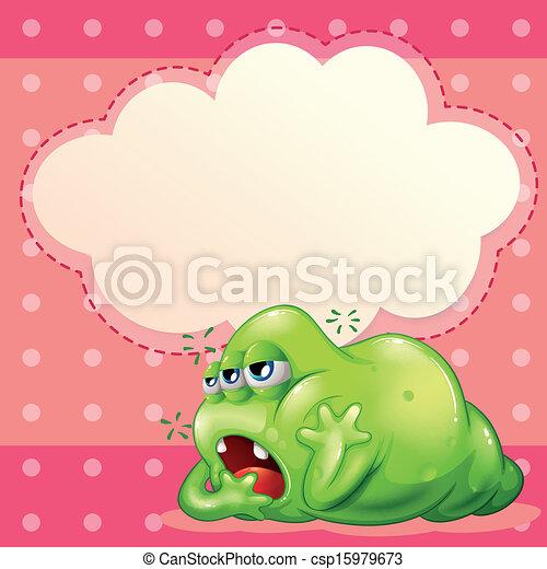 Ein müdes Monster unter dem leeren Wolkenmuster - csp15979673