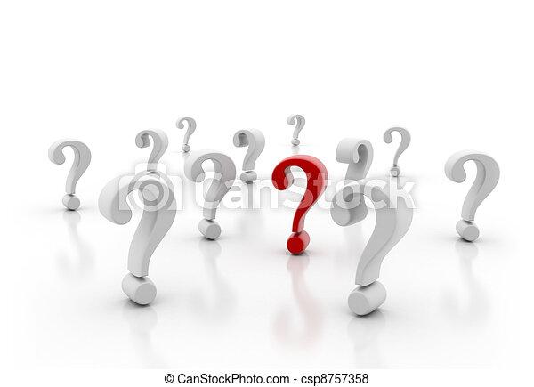 Ein rotes Fragezeichen steht draußen - csp8757358