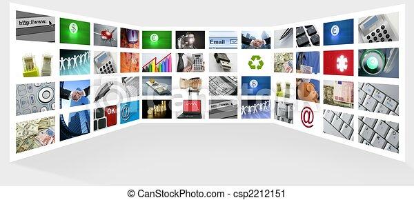 Eine große Gruppe von TV-Internetgeschäften - csp2212151