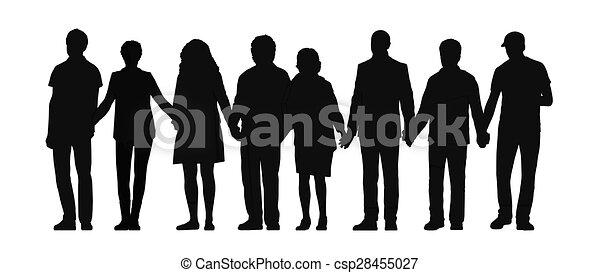 Eine Gruppe von Leuten, die Hände Silhouette 3 halten. - csp28455027