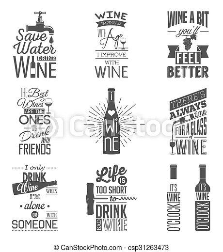 Eine Reihe von Vintage-Wein-typografischen Zitaten. - csp31263473
