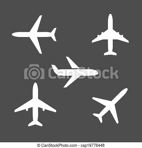 Fünf verschiedene Flugzeugsilhouette Ikonen. - csp19776448