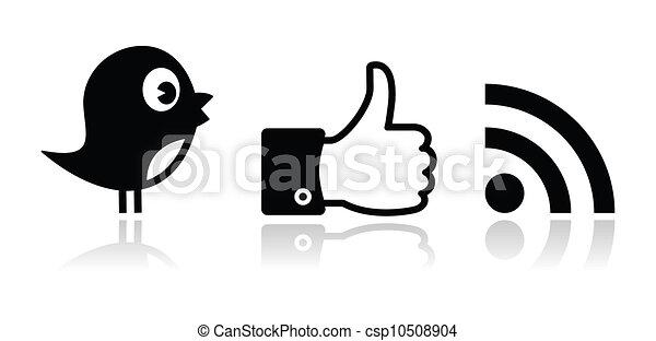 facebook, zwitschern, schwarz, glänzend, rss - csp10508904
