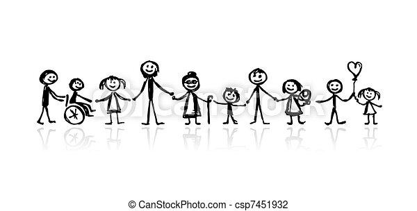 Familie zusammen, Skizze für dein Design - csp7451932