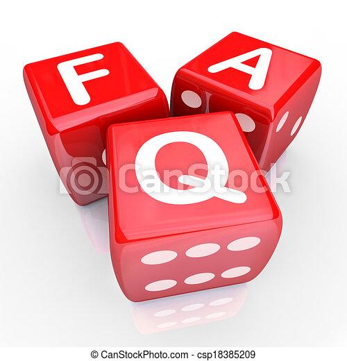 FAQ stellte häufig Fragen 3 rote Würfel. - csp18385209