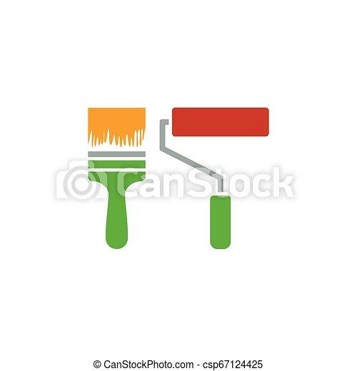 Icon von Baufarbenbürsten - csp67124425
