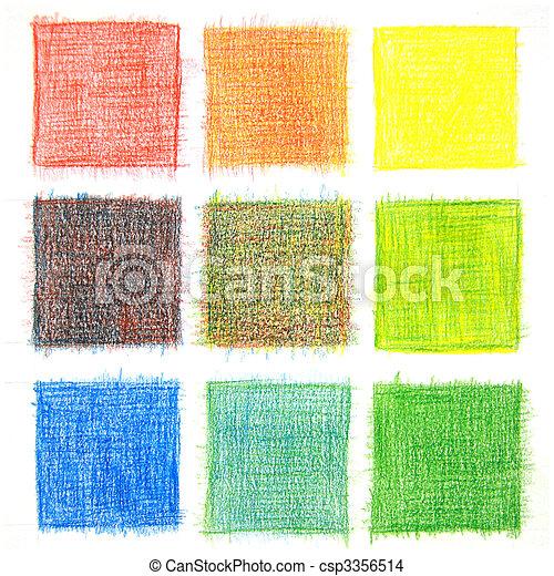 Farbmischung, Hintergrund, Bleistifte - csp3356514