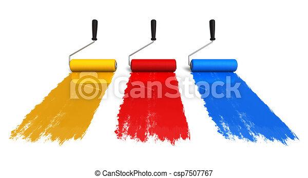 Farbrollenbürsten mit Farbspuren - csp7507767