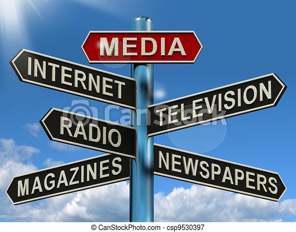 Medien-Schilder zeigen Internet-Fernsehzeitschriften - csp9530397