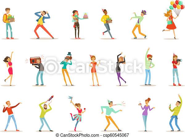 Fröhliche Leute feiern, Geschenke geben und Spaß an einem Geburtstags-Party-Set farbiger Zeichen Vektor Illustrations. - csp60545067