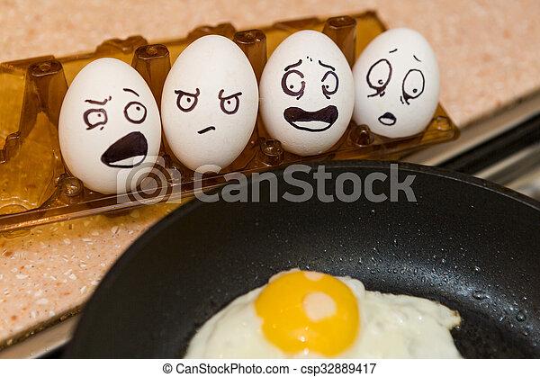 frisch, eier, kochen - csp32889417