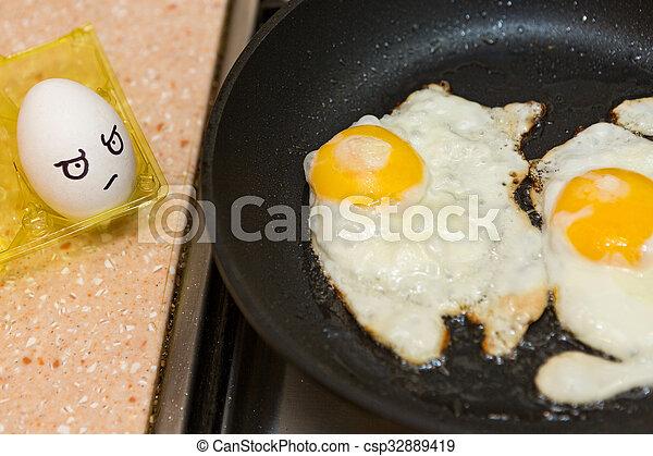 frisch, eier, kochen - csp32889419