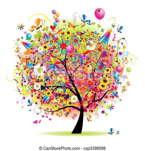 Frohe Feiertage, lustiger Baum mit Ballons. - csp3398588