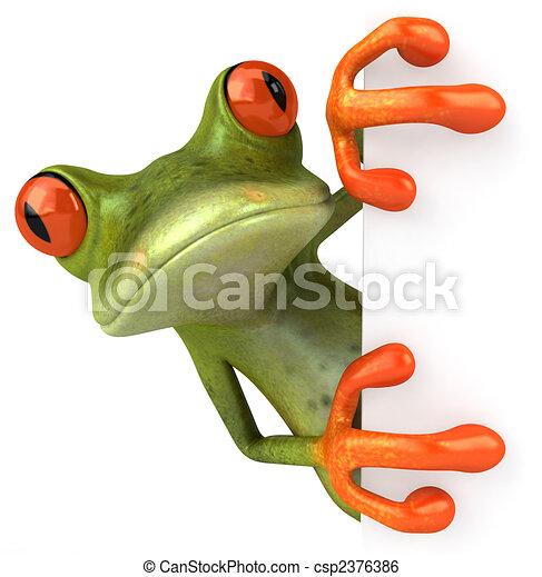 Fun Frog mit einem leeren Zeichen - csp2376386