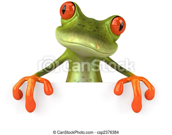 Fun Frog mit einem leeren Zeichen - csp2376384
