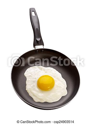 Gebratenes Ei in einer Pfanne - csp24903514