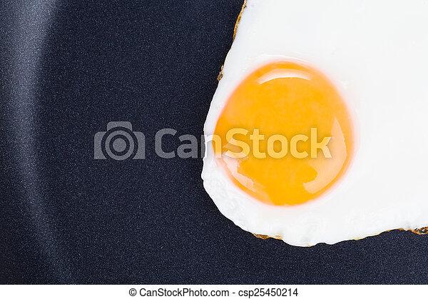 Gebratenes Ei in einer Pfanne. - csp25450214