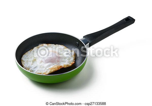 Gebratenes Ei in einer Pfanne. - csp27133588