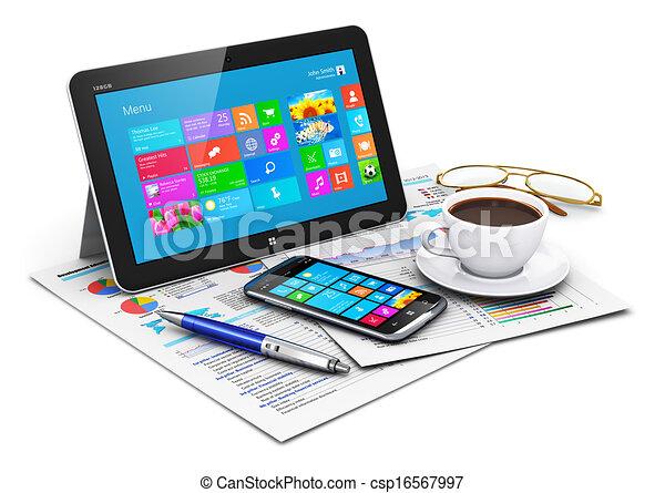 Tischcomputer und Geschäftsobjekte - csp16567997