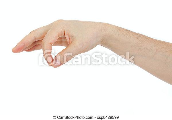 Männliche Hand hält ein Objekt auf weiß - csp8429599