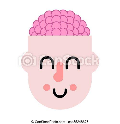 Gehirn in Kopf. Denkprozess. Vector Illustration - csp55248678