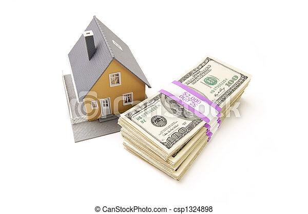 Heim und Stapel Geld isoliert - csp1324898