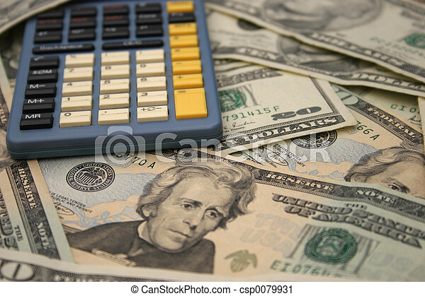 Taschenrechner und Geld - csp0079931