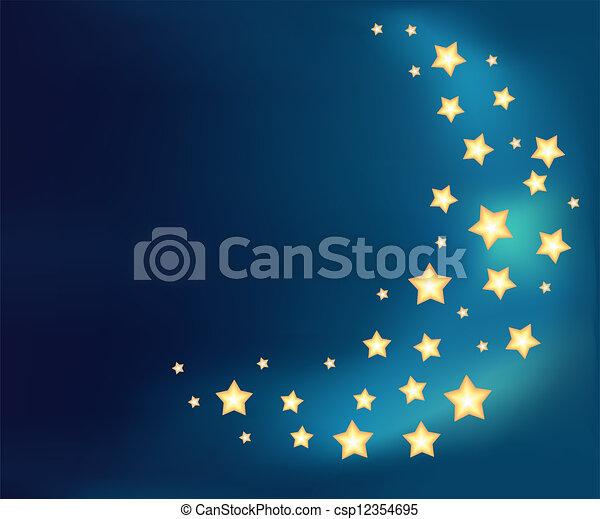 Hintergrund mit einem Mond aus glänzenden Cartoon-Stars - csp12354695