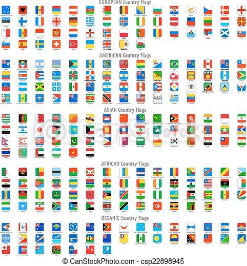 Gerundete Quadrat vektorische nationale Flaggen Icons. - csp22898945
