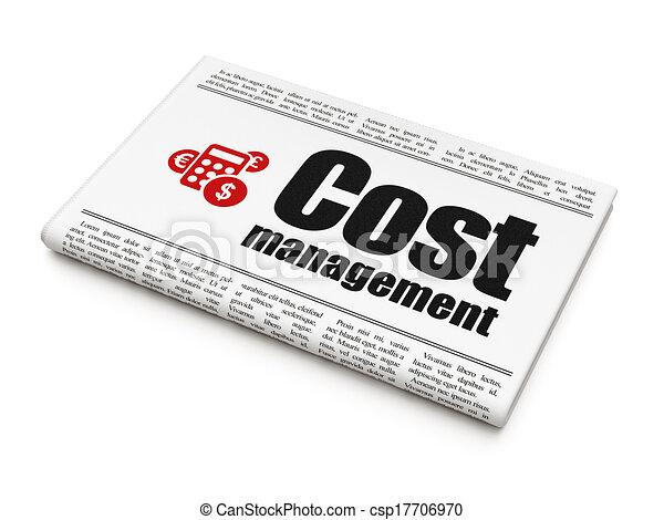 Business Konzept: Zeitung mit Kostenmanagement und Taschenrechner - csp17706970