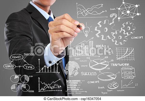 Businessman zeichnet modernes Business-Konzept - csp16347054