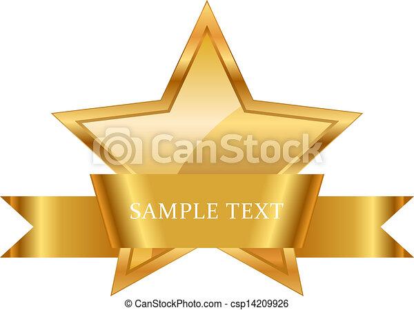 Goldstern-Preis mit glänzendem Band - csp14209926