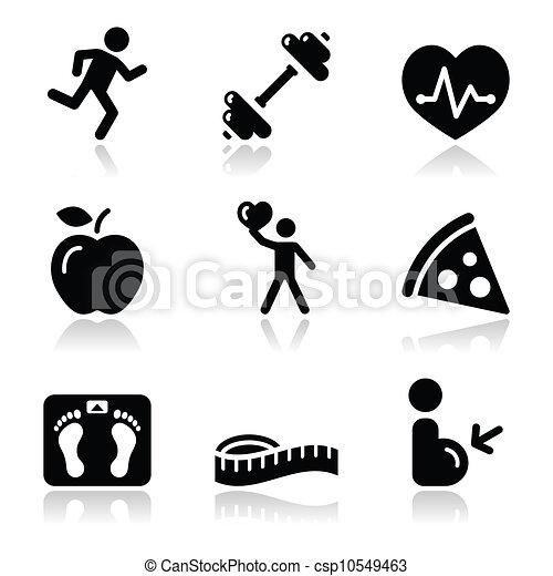 gesundheit, ikone, schwarz, sauber, fitness - csp10549463