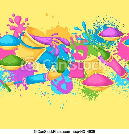 Happy Holi farbenfrohe nahtlose Grenze. Illustration von Eimern mit Farbe, Wasserpistolen, Flaggen, Flecken und Flecken - csp44314939