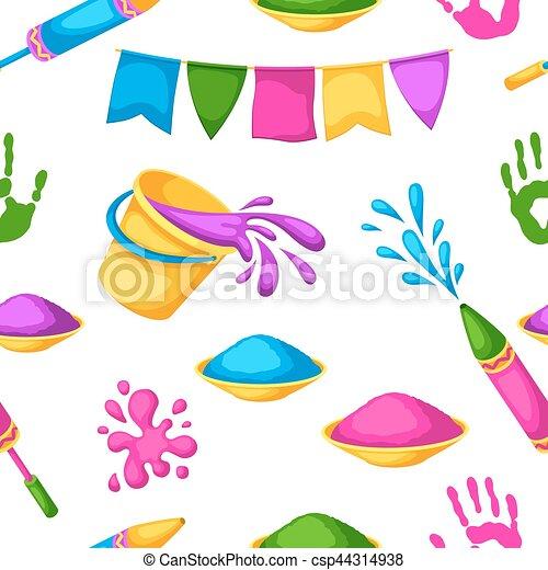 Happy Holi farbenfrohes, nahtloses Muster. Illustration von Eimern mit Farbe, Wasserpistolen, Flaggen, Flecken und Flecken - csp44314938