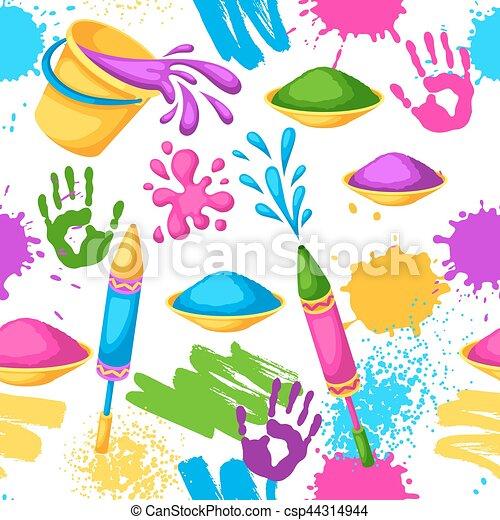 gewehre, blots, holi, bunte, flecke, eimer, pattern., seamless, abbildung, wasser, farbe, flaggen, glücklich - csp44314944