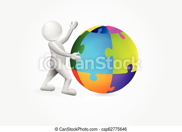 global, person, puxxle, logo, kleine welt, 3d - csp62775646
