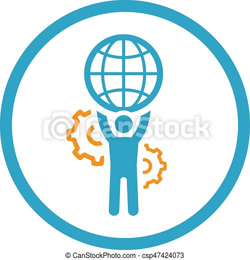 Global Support Icon. Flat Design. - csp47424073