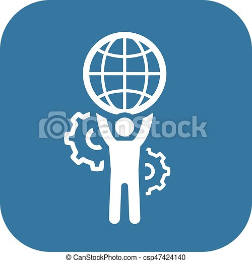 Global Support Icon. Flat Design. - csp47424140
