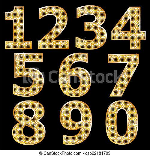 Goldene metallische glänzende Zahlen - csp22181703