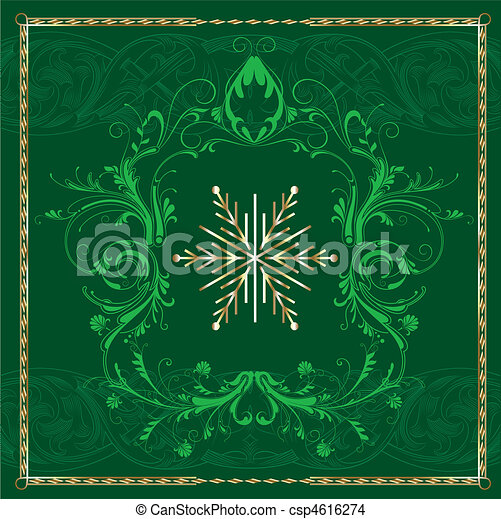 Grüne eckige Schneeflocke - csp4616274