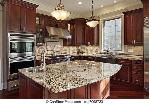 Küche mit Granitinsel - csp7098723