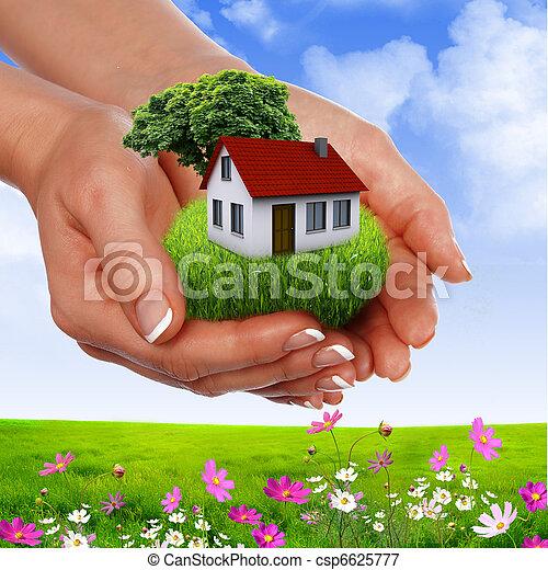 Hände halten Haus - csp6625777