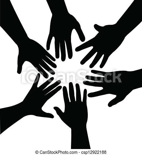 Hände zusammen, Vektor - csp12922188