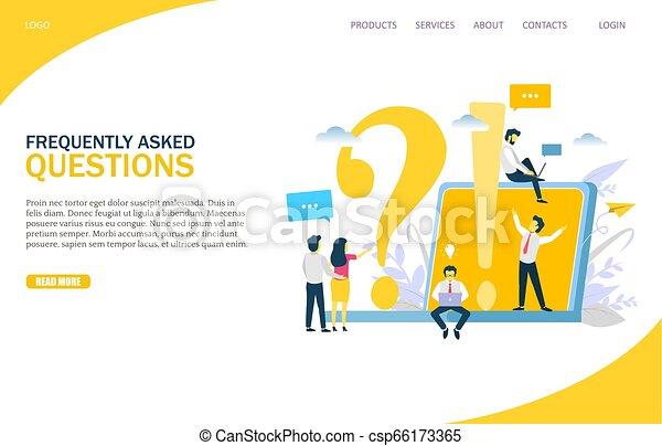 Häufig gestellte Fragen Vektor Website Landing Page Design Vorlage - csp66173365